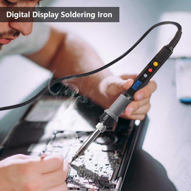 Handskit digital conjunto de ferro de solda 80ww digital com 5 pontas do ferro de solda soldeirng suporte ferramentas de solda