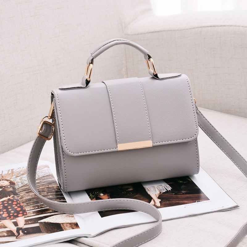 Wanita Fashion PU Kulit Bahu Kecil Flap Crossbody Tas Top Handle Tote Messenger Tas