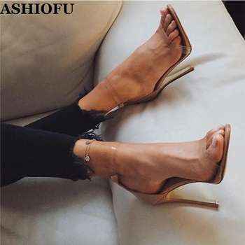 ASHIOFU Handmade Ladies High Heel Sandals PVC Leather Simple Sexy Party Sandals Office Prom Evening Fashion Shopping Sandals