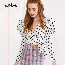 ROMWE Surplice Wrap Knot Side Polka Dot Blouse Sweet Puff Sleeve Top Women V Neck Crop Top Autumn Long Sleeve Blouses Clothing elastic hem surplice wrap top