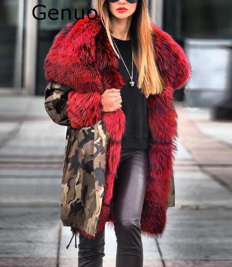Véritable nouveau manteaux femmes fourrure floue Camouflage sweat à capuche chaud hiver veste coupe-vent Outwear épais mode nouveau manteau femmes 2020 - 2
