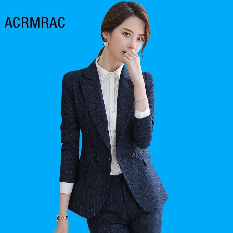 Women Suits Slim Spring Stripe Jacket Pants 2-piece Set OL Formal Business Women Pants Suits Woman Set Suits 825