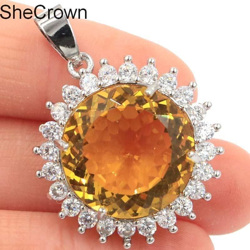 Big Round Gemstone Golden Citrine CZ Ladies Party Silver Pendant 32x25mm