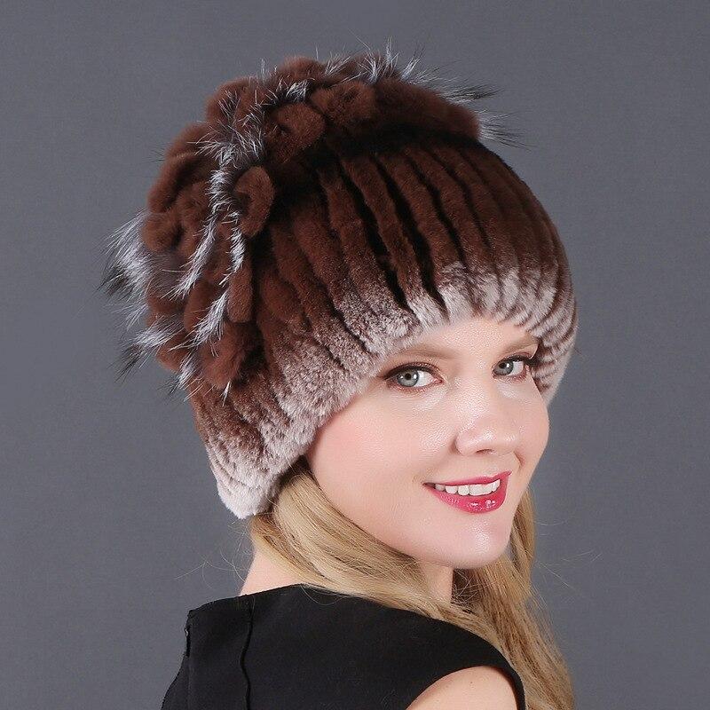 Купить зимняя шапка женская плотная теплая из кроличьего меха повседневная
