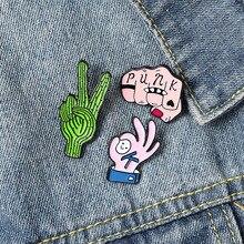 Модная эмалированная брошь на лацкан OK Gesture, креативная брошь в стиле панк с персонажами мультфильмов аниме, значок на рюкзак, брошь в стиле ...
