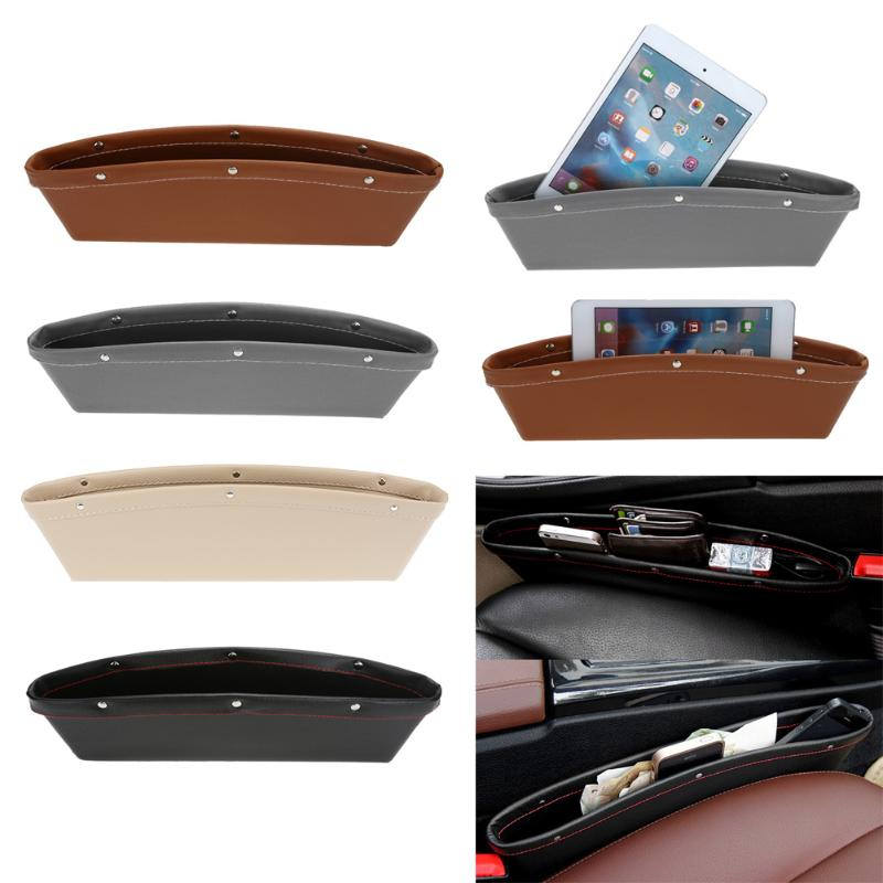 1pcs Car Organizer PU Leather Catch Catcher Box Caddy Car Seat Slit Gap Pocket Storage Glove Box Slot Box Leather Storage