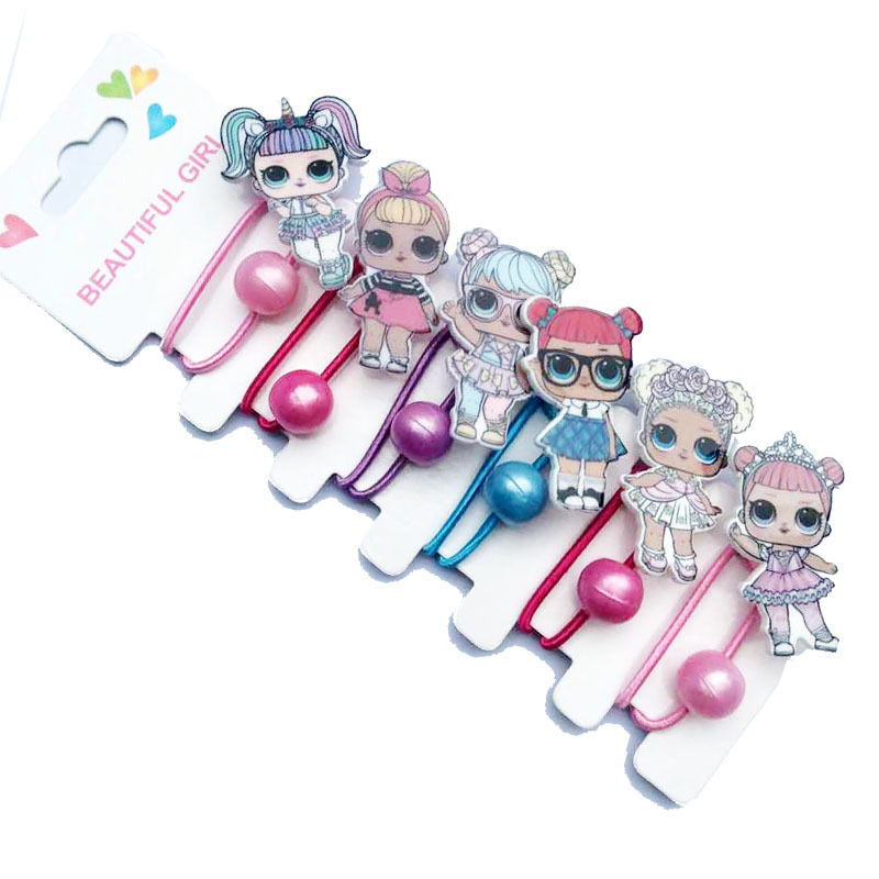 LOL Surprise Dolls Cartoon Cute Girl Hair Accessories Rubber Band Hairpin Girls Resin Printing Accessories 6 Piece Set 2S73