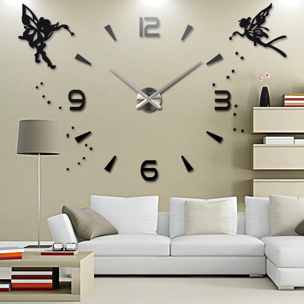 Акриловые DIY большие часы, современный дизайн, бесшумные кварцевые Самоклеящиеся стикер с ангелом, 3D цифровые настенные часы для декора гос...