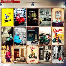 Vespa Retro Tin Signs Car Motorcycles Metal Art Poster Bar Pub Garage Wall Decoration Moto Clube Faro Vintage Home Decor N301