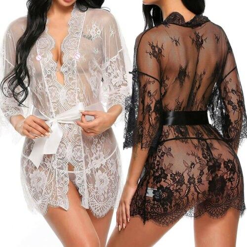 Sıcak moda seksi kadın iç çamaşırı şeffaf v yaka pijama gecelik dantel dantel Babydoll elbise tanga seksi takım elbise