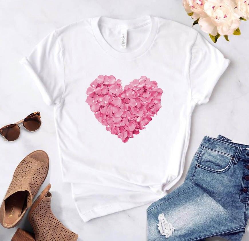 Pink Heart T Shirt For Womens
