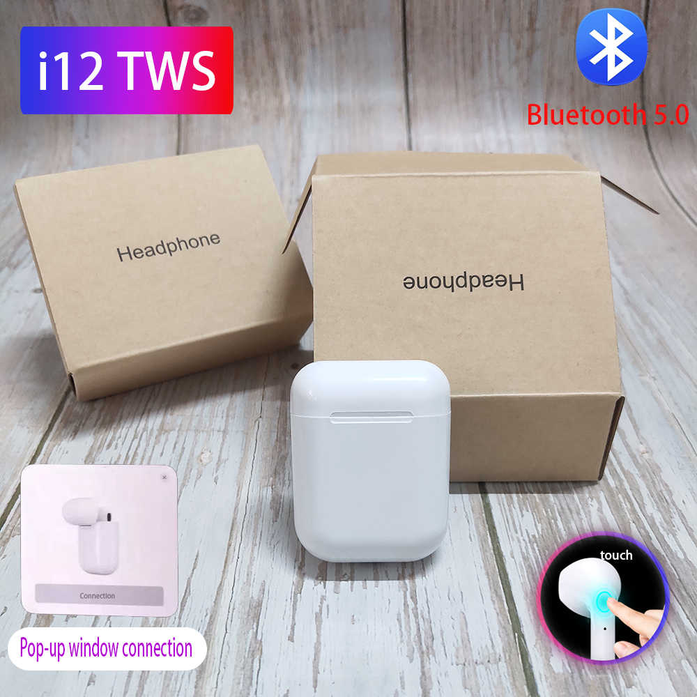 I12 Tws Bluetooth Earphone I7s 5.0 Nirkabel Headphone Stereo Earbud Headset dengan MIC PK W1 Chip I11 Tws I60 I80 LK Te9