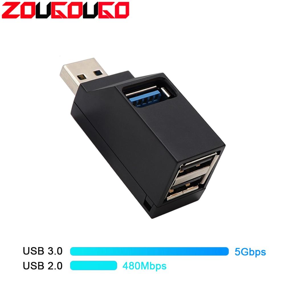 3 Port USB Hub Mini USB 2.0 3.0 High Speed Hub Splitter Box For PC Laptop MacBook Pro Accessories