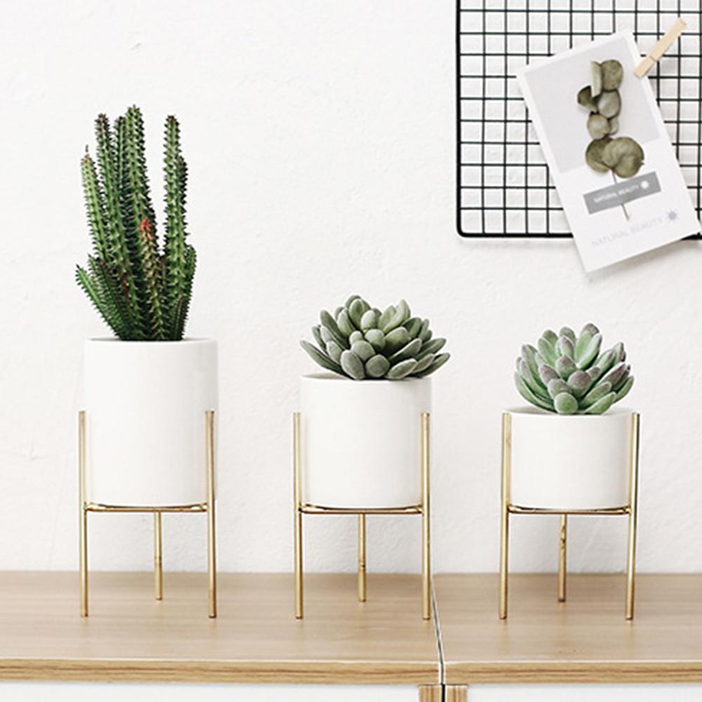 Home Garden Metal Rack Bracket Ceramic Flower Pot Holder Plant Container Planter It Is A Perfect Decoration For Your Living Room
