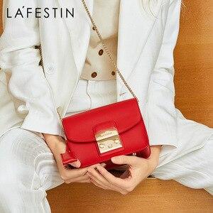 Image 1 - LAFESTIN Famous Shoulder Bag Women Designer Real Leather Flap Crossbody Bag Luxury Totes Multifunction brands Bag bolsa