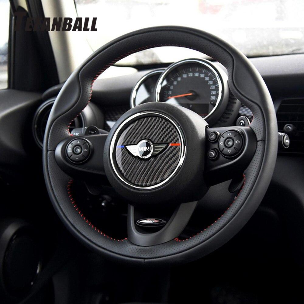 Car Interior Carbon Fiber Steering Wheel Decoration Cover Sticker For Mini Cooper F55 F56 F60 Automobile Styling Accessories
