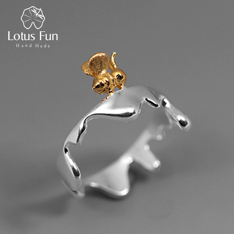 Lotus Fun Real 925 Sterling Silver Natural Original Handmade Designer Fine Jewelry Bee and Dripping Honey Rings for Women Bijoux