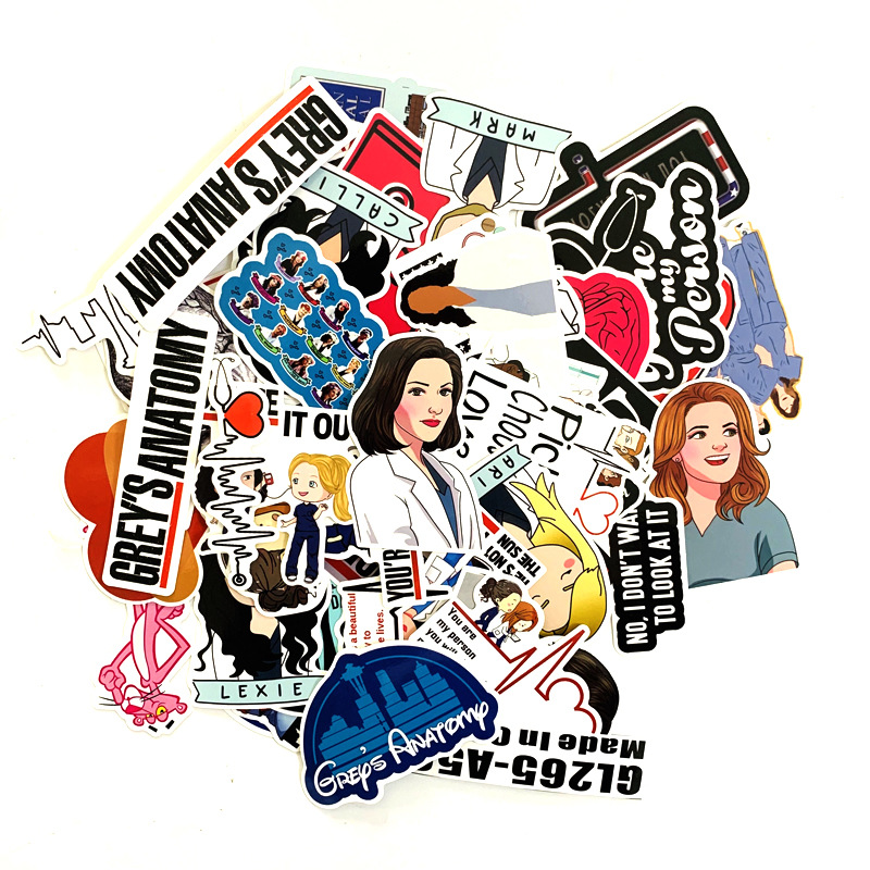 50 Pcs/set TV Show Greys Anatomy Funny PVC Scrapbooking For Luggage Laptop Phone Decals DIY Album Stickers Doctors Gift