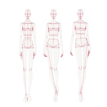 ファッション定規ファッション線画人間の動的テンプレート布定規パターン作りレンダリング