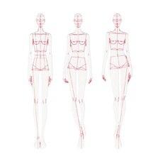 Fashion Heerser Mode Lijn Tekening Menselijk Dynamische Template Voor Doek Rendering Patroon Maken Heersers