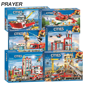 NEW City Fire Station Series Model Compatible with Lepininglys 60216 60110 60214 Building Block Brick Toy for Children Gift