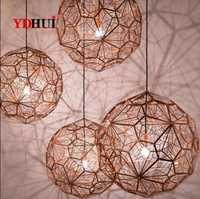 E27 Replica of Web Etch Modern Pendant Light Shadow Lamp For Living Room Study Kitchen Dining room Silver Golden Copper body