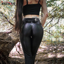 InstaHot Faux Leather Pant Women Casual Sexy Gothic Black Patchwork Autumn Skinny High Waist Slim Trousers 2020 Streetwear Pant