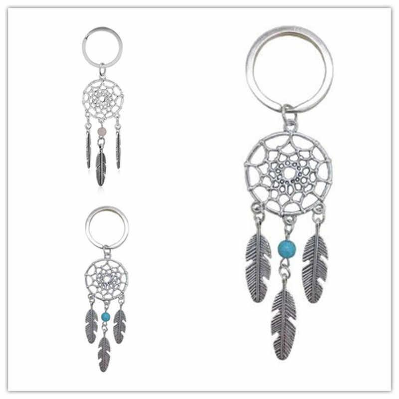 1PC สีชมพูสีดำลูกปัด Dreamcatcher Feather WIND Chimes Dream Catcher Key CHAIN ผู้หญิง Vintage สไตล์อินเดียพวงกุญแจ