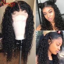 Perruque Lace Front Wig frisée malaisienne naturelle, cheveux Jerry bouclés, pre-plucked, 13x4, 4x4, pour femmes africaines