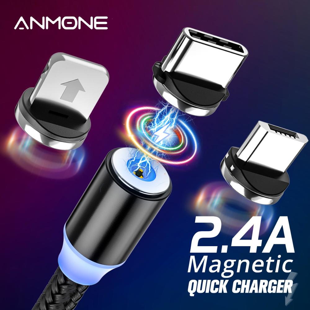 ANMONE Magnetic <font><b>Cable</b></font> Micro USB Type C Magnetic Charge Charger <font><b>Cable</b></font> for iPhone Huawei Samsung Android Mobile Phone 2m <font><b>cable</b></font> image
