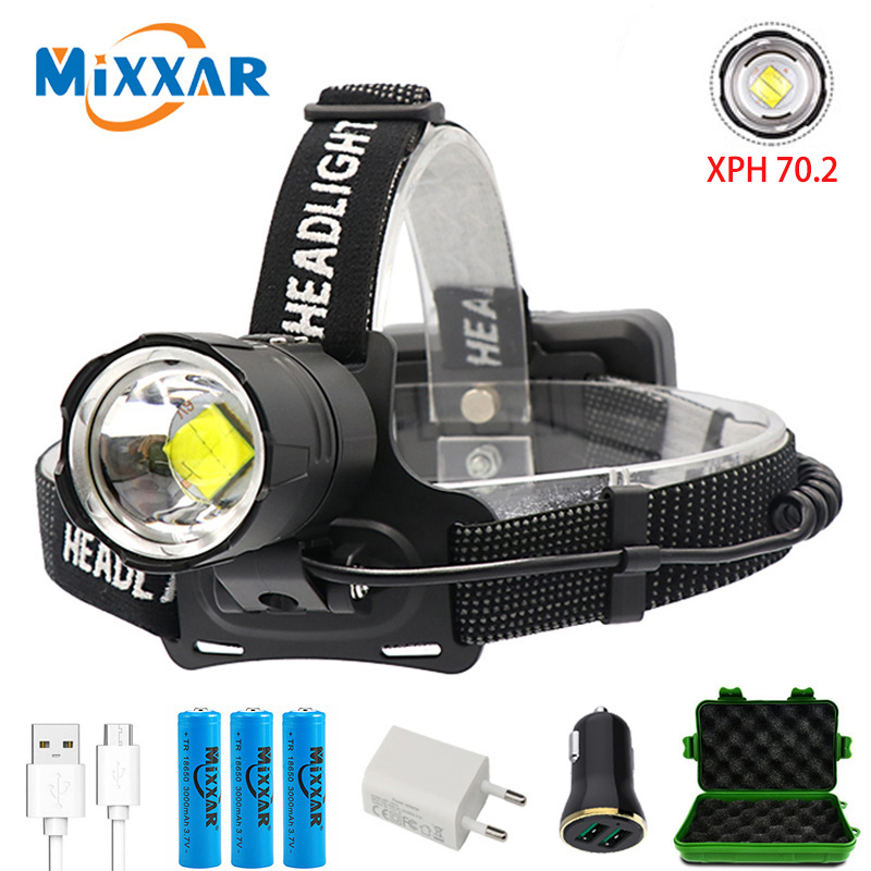 ZK20 Dropshiping High Lumens LED Headlamp XHP70.2 Power Headlight 3 Modes Telescopic Rechargeable Zoom Torch Waterproof Hunting