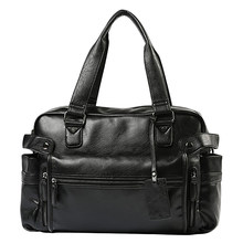 BEAU-Men'S Briefcase Messenger Shoulder Bags Large Capacity Handbag Business Leather Computer Bags Laptop Multifunction(China)