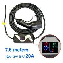 Mennekes Type 2 EVSE ev prise mode 2 EV chargeur 20A Type Schuko 7.6M câble pour voiture électrique maison charge rapide