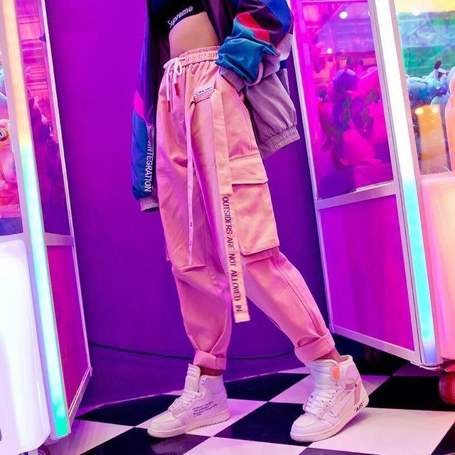 harajuku zipper streetwear women casual harem pants with chain New solid black pant cool fashion hip hop long trousers 1