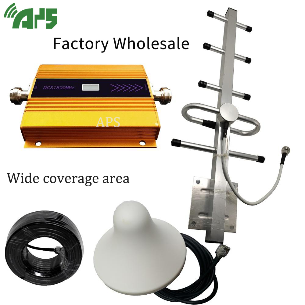 DCS 1800MHZ GSM 2G 3G 4G LTE Mobile Phone Cellular Signal Booster Amplifier + Indoor And Outdoor Antenna High Gain Antenna Set