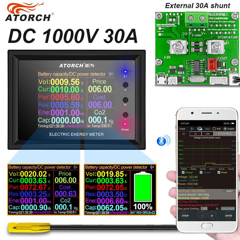 DT24P DC0-1000V 30A Вольтметр постоянного тока Амперметр батарея кулометр тестер емкости топлива