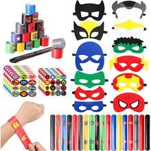 Bracelets de super-héros pour fête, 60 pièces, masques en feutre, feuilles d'autocollants, fournitures pour fête d'anniversaire à thème pour enfants
