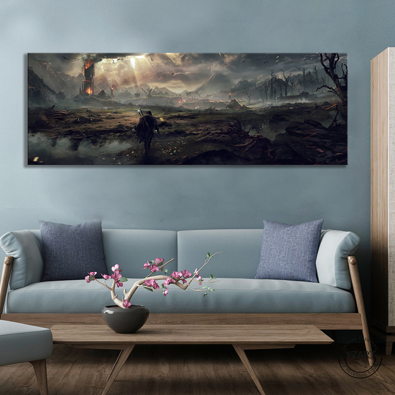 Middle Earth Shadow of Mordor Video Games Art Wall Decor Painting The Lord of The Rings Movie Poster Wall Art Canvas Painting 1
