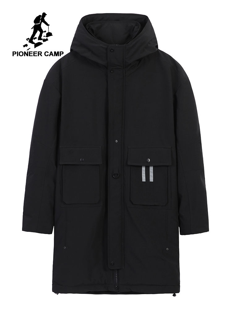 Pioneer Camp New Jacket Men's Parka Winter Long Hooded Cloth With Two Pockets Black Green Color Coat Male 2019 AMF903501
