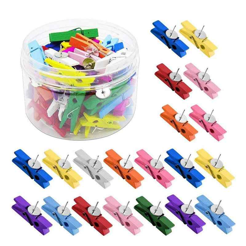 Push Pins With Wooden Clips 50Pcs Thumbtacks Pushpins Creative Paper Clips Clothespins Multicolor for Cork Board and Photo Wall