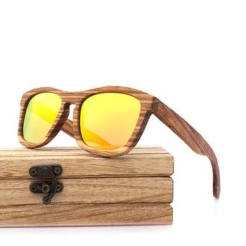 Lunettes de soleil monture intégrale en bois de Zebrano – Wayfarer