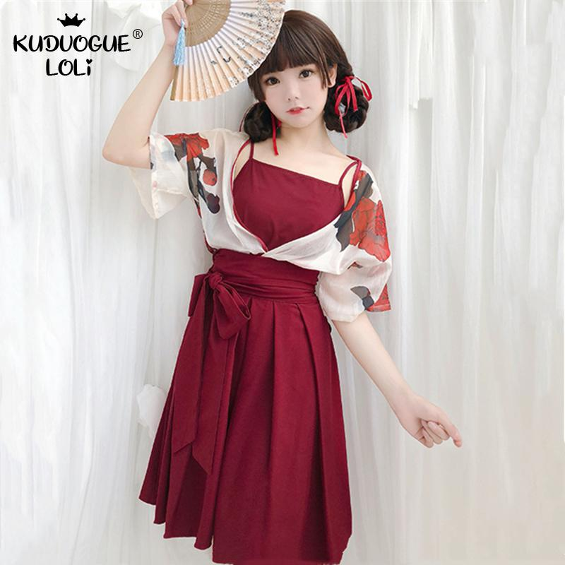 Japanese Kawaii Girls Style Kimono Dress For Women Floral Print Vintage Tea Party Asian Clothes Vestidos Yukata Cosplay Costumes