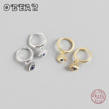 OBEAR 100% 925 Sterling Silver Blue Zircon Eyes Pendant Stud Earrings for Women Exquisite Sterling Silver Jewelry