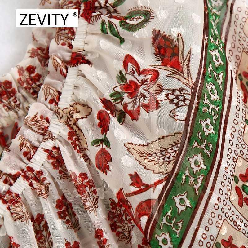 Zevity Nieuwe 2020 Vrouwen Vintage Slash Hals Kleur Match Patchwork Print Kiel Blouse Dames Chic Chiffon Shirt Feminina Tops LS6832