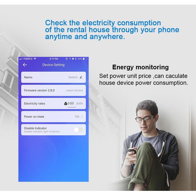 1P eWelink Single phase Din rail WIFI Smart Energy Meter Power Consumption kWh Meter wattmeter with Alexa  google for Smart home 6