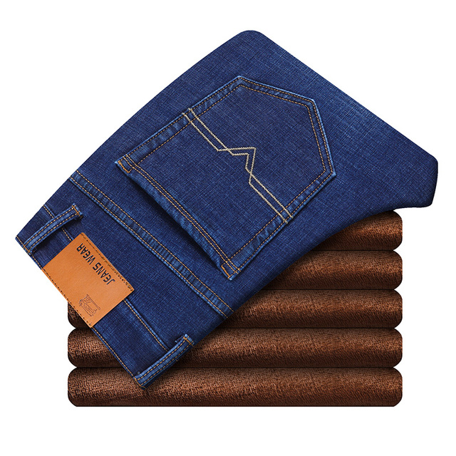 Winter Thermal Warm Flannel Stretch Jeans Mens Winter Quality Famous Brand Fleece Pants Men Straight Flocking Trousers Jean Male 3
