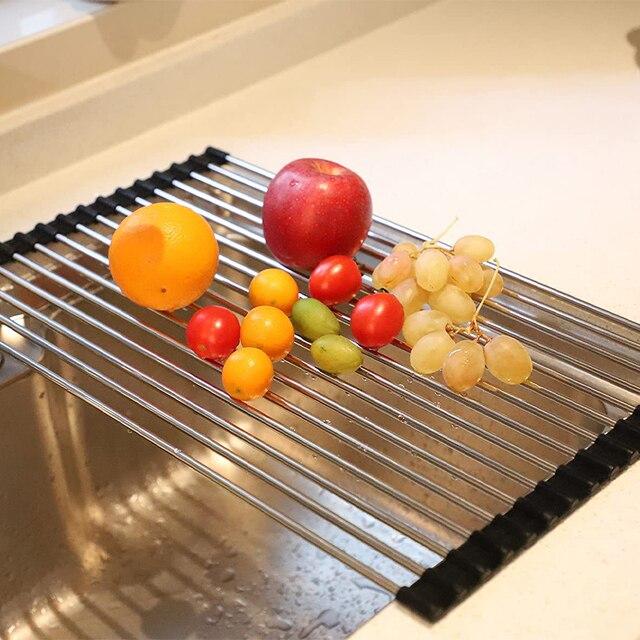 Roll Up Dish Drying Rack Drainer Shelf Foldable Dish Drainer Over Sink Kitchen Organizer Fruit Mat Portable Storage Shelf Holder 5