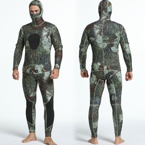 2PCS Men Diving Suit Neoprene 3mm Spearfishing Wetsuit Surf Snorkel Swimsuit Split Diving Suits Surf Camouflage Clothing