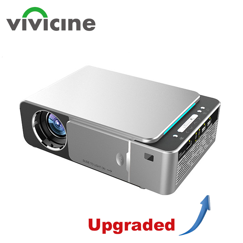 VIVICINE plus récent V20 Mini projecteur LED, en option Android 7.1 Bluetooth, soutien 4K Wifi HDMI USB LCD Home cinéma projecteur