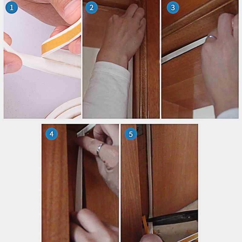 Novo 5 m d tipo tira de vedação auto adesivo tiras vedação espuma draught excluder auto adesivo janela porta vedação tira ferramentas de ferragem